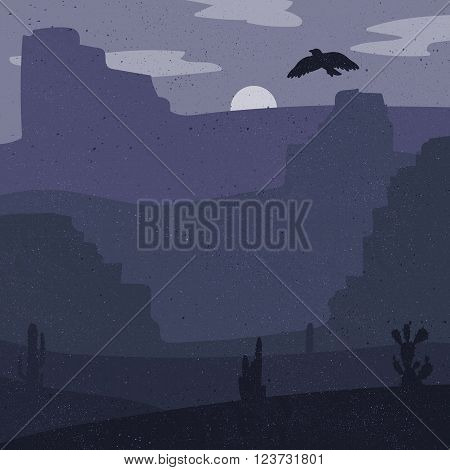 Night Retro Wild West Desert. Vintage moon in prairie with cacti and eagle in sky. Grunge old texture. Natural Landscape for print poster illustration sticker. Vector