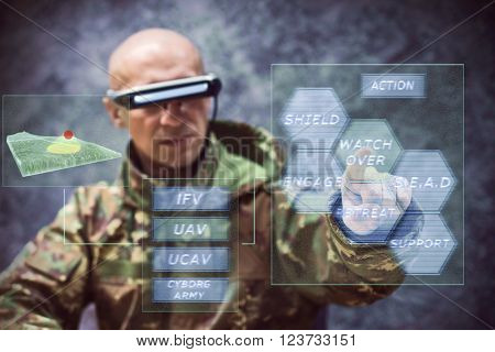 futuristic soldier piloting drones on computer hologram