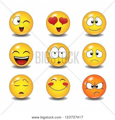 Set of Emoticons. Set of Emoji. Isolated vector illustration on white background