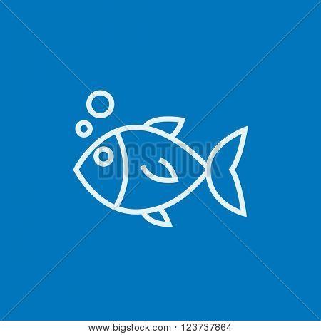 Little fish under water line icon.