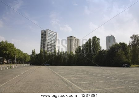 View On Buildings With Empty Parking Space