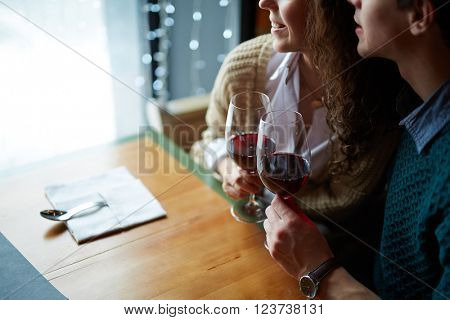 Lovers with wine
