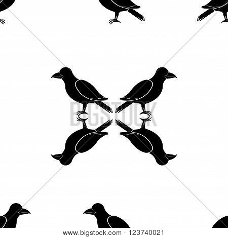 Seamless black-and-white pattern with crows. Design for fabric and decor.
