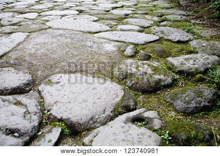 ancient cobblestone road (Pompei, Italy)