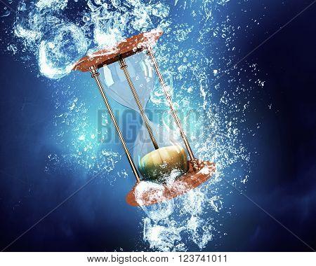Hourglass under water