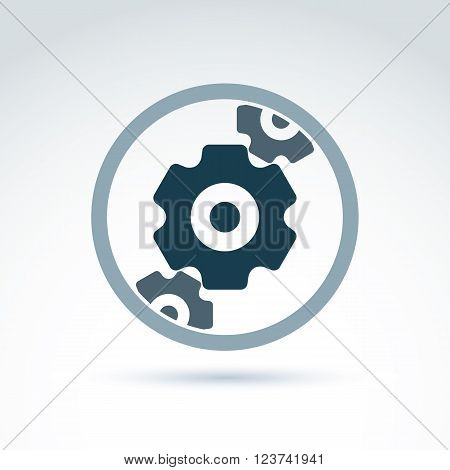 Vector illustration of cog-wheels and gears placed in circle. Business and manufacturing process icon.