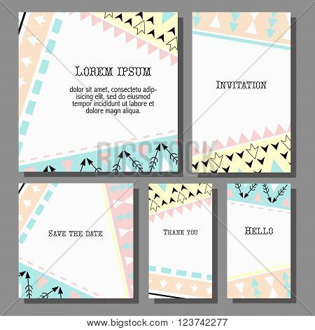 Vector illustration set of artistic colorful universal cards. Wedding, anniversary, birthday, holiday, party. Design for poster, card, invitation. Boho tribal  geometric pattern