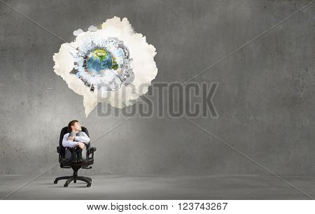 Businessman and ideas in his head