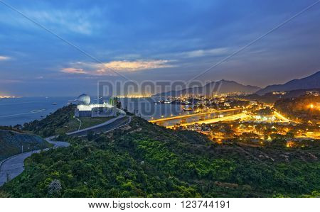 Hong Kong observatory at Tai Lam , sunset