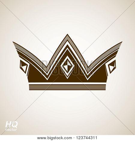 Vector vintage crown luxury ornate coronet illustration. Royal luxury design element decorative regal icon. Classic imperial regalia symbol.