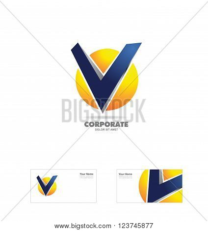 Vector company logo icon element template alphabet letter v sphere 3d