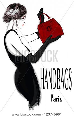 Fashion woman model in black dress with handbag - vector illustration