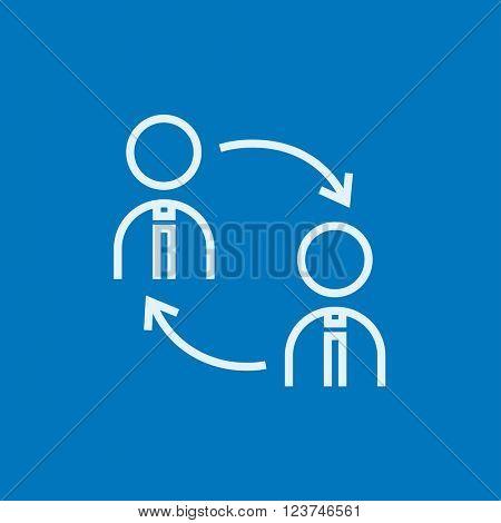 Staff turnover line icon.