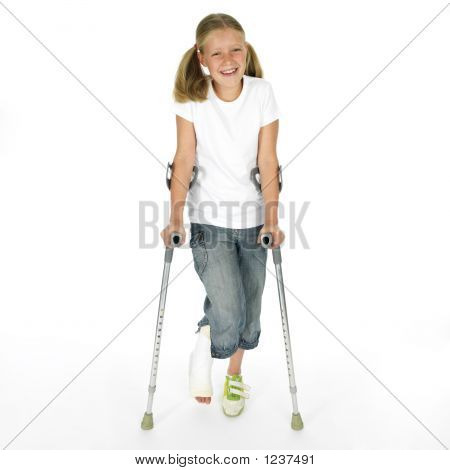 girl with a broken leg walking on crutches poster