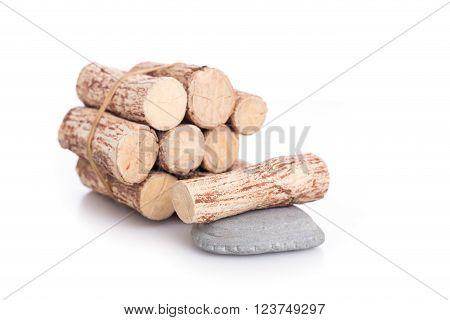 Thanaka wood and grey Kyauk Pyin stone slabs isolated on white background poster