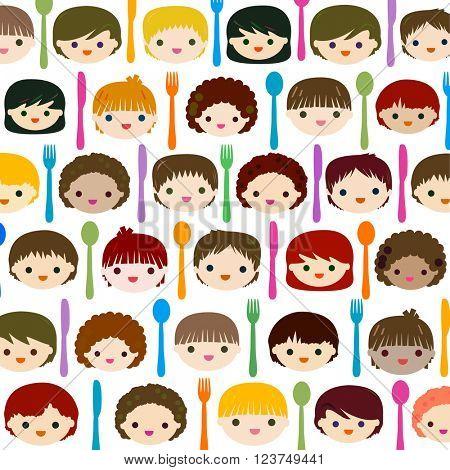 menu kids faces background