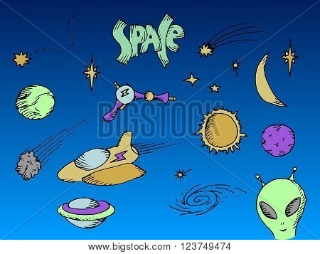 Space set. Colorful hand drawn vector stock illustration