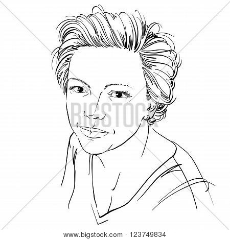 Hand-drawn vector illustration of beautiful confident woman. Monochrome image peaceful expressions on face of young lady.