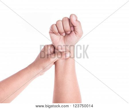 Close Up Woman's Hand Holding Her Wrist Isolated On White . Elbow Pain Concept.