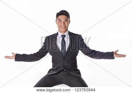 businessman sitting with doubt gesture