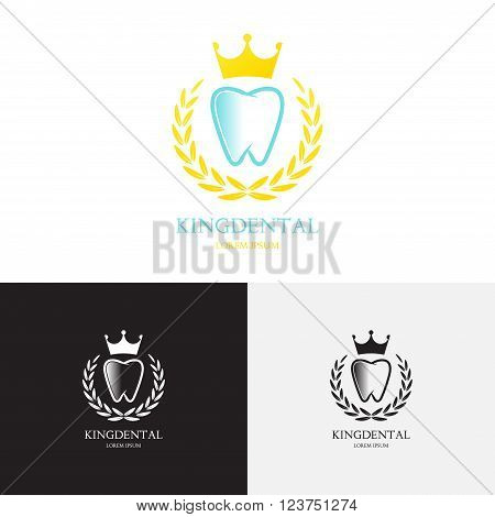 Template of logo of dental clinic. Creative vector template in the form of tooth and gold crown. Vector template of royal logo.