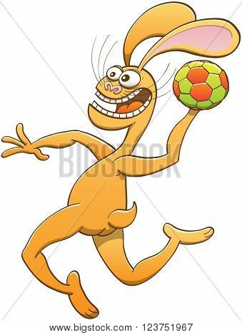 Brave yellow hare with long ears and slender body while crossing its bulging eyes, shouting, holding a ball and preparing a jump shoot in a handball match
