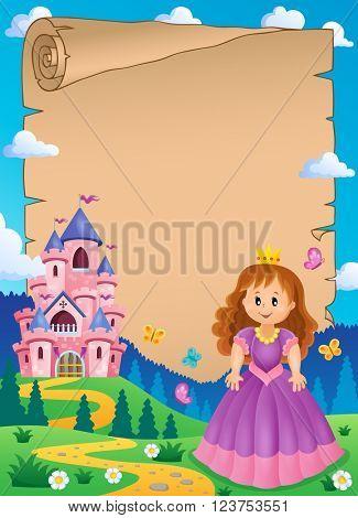 Parchment with princess near castle 2 - eps10 vector illustration.