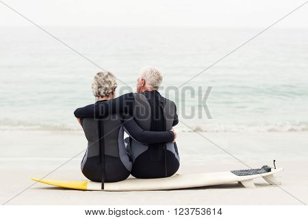 Rear view of couple sitting on surfboard at beach