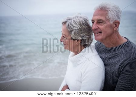 Senior couple embracing each other on the beach on a sunny day