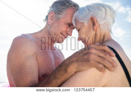 Happy senior couple embracing face to face on the beach on a sunny day