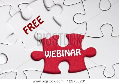 Missing jigsaw puzzle with Free Webinar word