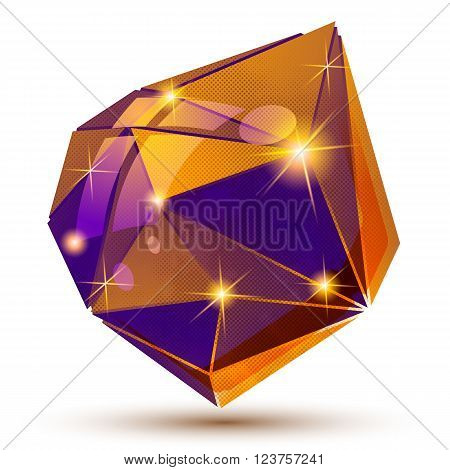 Plastic Grain Dimensional Object Created From Geometric Figures, Shiny Futuristic Isolated Element.