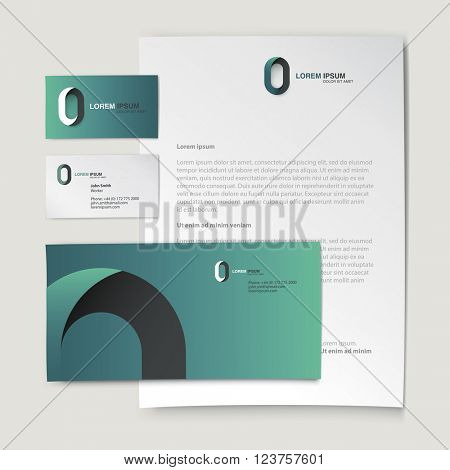 Corporate identity template. Abstract logo on letter envelope, business card and paper sheet