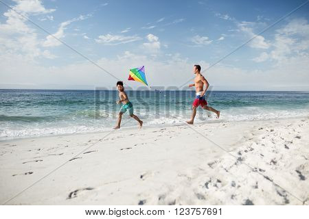 Father and son playing with kite on beach