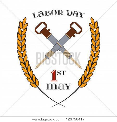May Day. May 1st. Labor Day Icon with two crossed jackhammers over white . Element for poster, greeting card or brochure template, logo, symbol of work and labor, vector icon