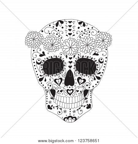 Skull with floral ornament. Day of the dead.