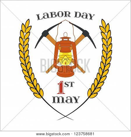 May Day. May 1st. Labor Day Icon with two crossed picks and lantern over white . Element for poster, greeting card or brochure template, logo, symbol of work and labor, vector icon