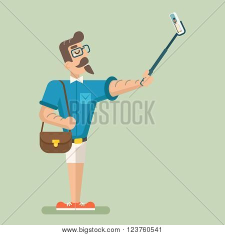 Selfie Stick Happy Cartoon Hipster Geek Mobile Phone Businessman Character Icon Stylish Background Flat Design Vector Illustration