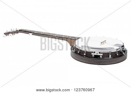The image of a banjo under the white background