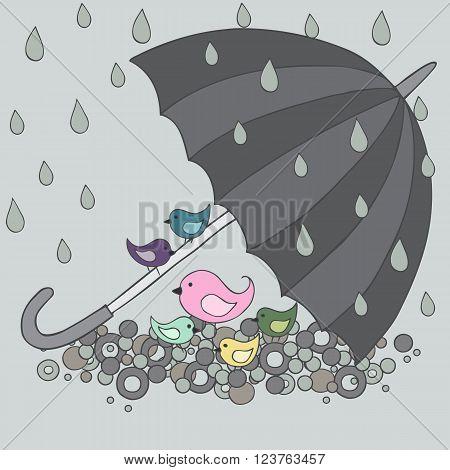 The birds are hiding under the umbrella, vector illustration