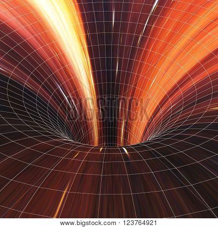 Abstract black holes, wormholes, warp tunnel. 3d illustration