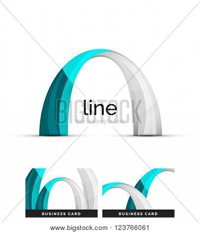 Swirl wavy ribbon, abstract concept. Vector business logo