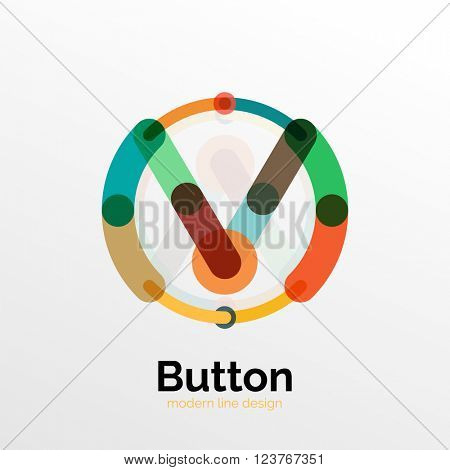 Thin line design geometric button, flat style. Overlapping muticolored elements. Vector illustration