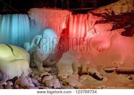 The American Falls of Niagara Falls frozen at night. ** Note: Visible grain at 100%, best at smaller sizes
