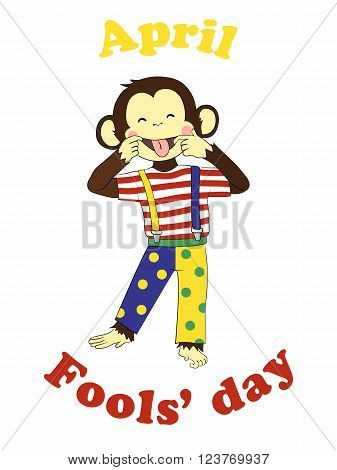 First April Fools day. Funny cartoon All fools day card, poster. April fool prank. Monkey clown.