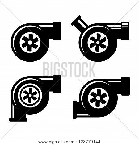Turbocharger Icons Set Isolated on a White Background. Vector illustration