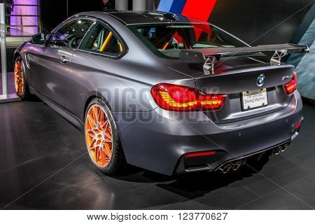 NEW YORK - March 23: A BMW M4 GTS exhibit at the 2016 New York International Auto Show during Press day,  public show is running from March 25th through April 3, 2016 in New York, NY.