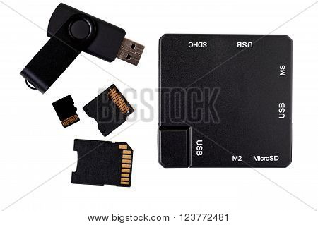 Top view of black plastic square USB hub memory stick and card adapters.