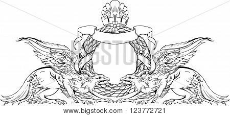 image of two griffins and heraldic sign. black and white