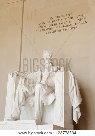 Abraham Lincoln Memorial Statue in Washington, D.C.
